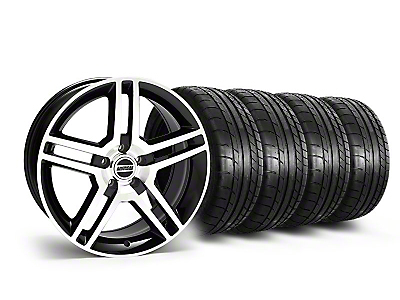 Staggered Black Machined 2010 GT500 Style Mustang Wheel & Mickey Thompson Tire Kit - 19x8.5/10 (05-14 All)