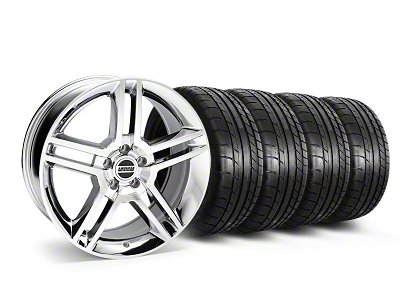 Staggered 2010 GT500 Style Chrome Wheel & Mickey Thompson Tire Kit - 19x8.5/10 (05-14 All)