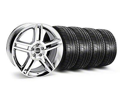 Staggered Chrome 2010 GT500 Style Mustang Wheel & Mickey Thompson Tire Kit - 19x8.5/10 (05-14 All)