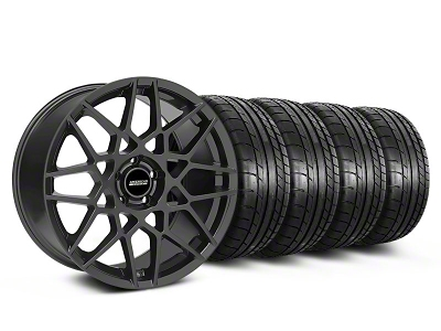 Staggered 2013 GT500 Style Charcoal Wheel & Mickey Thompson Tire Kit - 19x8.5/10 (05-14 GT, V6)