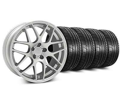Staggered Silver AMR Style Wheel & Mickey Thompson Tire Kit - 19x8.5/10 (05-14)
