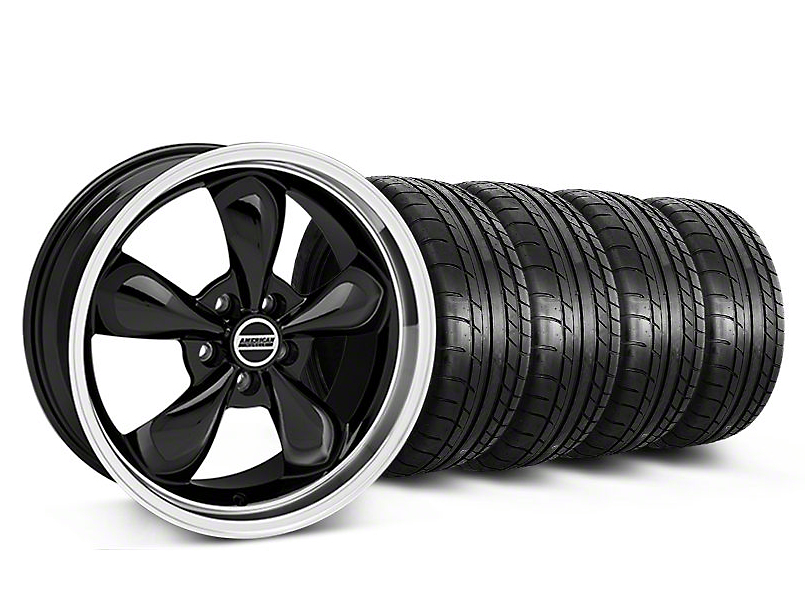 Staggered Bullitt Black Wheel & Mickey Thompson Tire Kit - 19x8.5/10 (05-14 GT, V6)