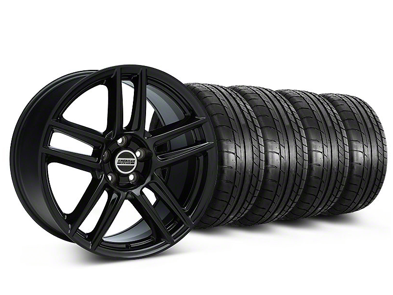 Staggered Laguna Seca Style Black Wheel & Mickey Thompson Tire Kit - 19x9/10 (05-14 All)