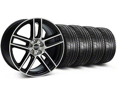 Staggered Laguna Seca Style Black Machined Wheel & Mickey Thompson Tire Kit - 19x9/10 (05-14 All)