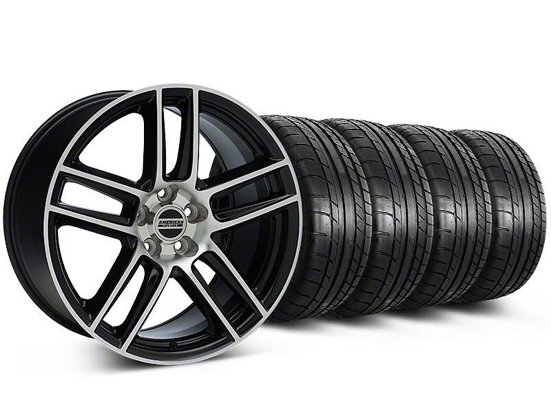 Staggered Laguna Seca Style Black Machined Wheel & Mickey Thompson Tire Kit - 19x9/10 (05-14 All)
