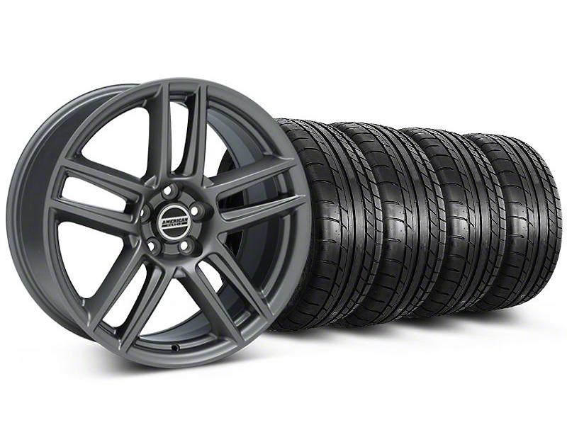 Staggered Laguna Seca Style Charcoal Wheel & Mickey Thompson Tire Kit - 19x9/10 (05-14 All)