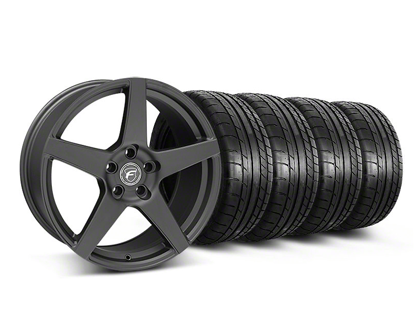 Forgestar Staggered CF5 Monoblock Matte Black Wheel & Mickey Thompson Tire Kit - 19x9/10 (05-14 All)