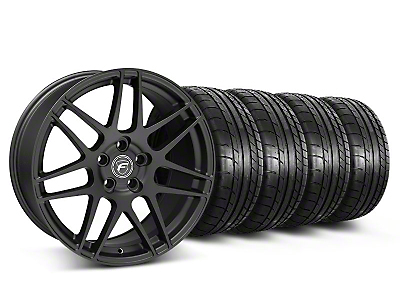 Staggered Matte Black Forgestar F14 Monoblock Wheel & Mickey Thompson Tire Kit - 19x9/10 (05-14 All)