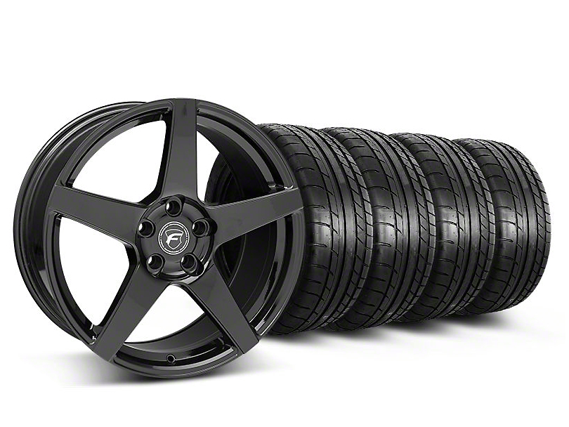 Staggered Forgestar CF5 Monoblock Gloss Black Wheel & Mickey Thompson Tire Kit - 19x9/10 (05-14 All)