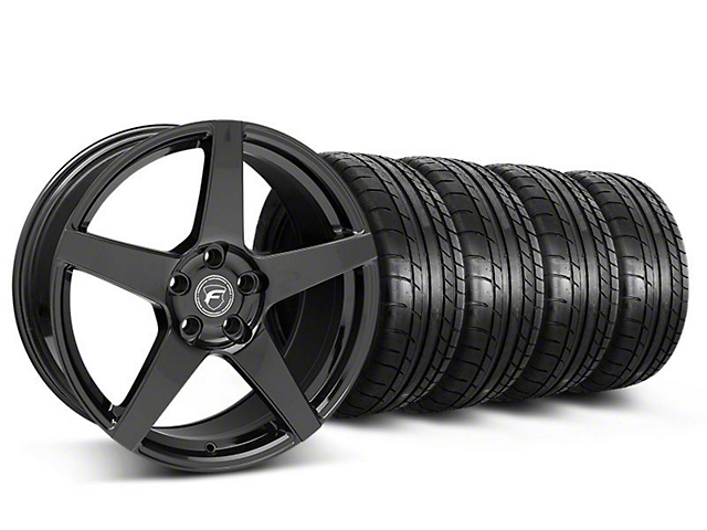 Forgestar Staggered CF5 Monoblock Gloss Black Wheel & Mickey Thompson Tire Kit - 19x9/10 (05-14 All)