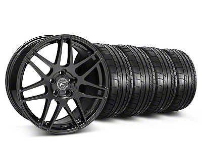 Forgestar Staggered F14 Piano Black Wheel & Mickey Thompson Tire Kit - 19x9/10 (05-14 All)