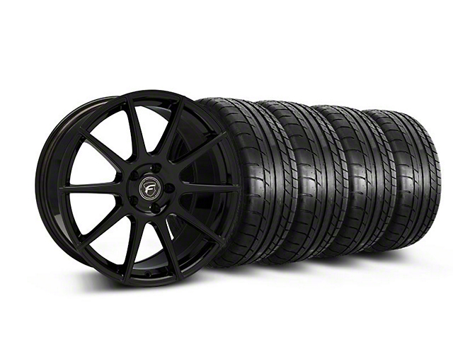 Staggered Forgestar CF10 Monoblock Piano Black Wheel & Mickey Thompson Tire Kit - 19x9/10 (05-14 All)