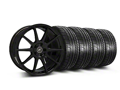 Staggered Piano Black Forgestar CF10 Monoblock Wheel & Mickey Thompson Tire Kit - 19x9/10 (05-14 All)