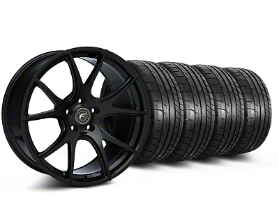 Forgestar Staggered CF5V Monoblock Piano Black Wheel & Mickey Thompson Tire Kit - 19x9/10 (05-14 All)