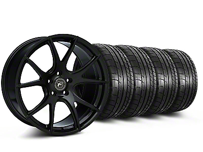 Staggered Forgestar CF5V Monoblock Piano Black Wheel & Mickey Thompson Tire Kit - 19x9/10 (05-14 All)