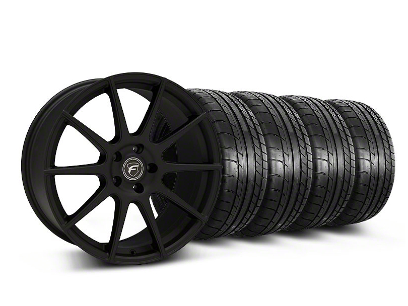 Staggered Forgestar CF10 Monoblock Textured Black Wheel & Mickey Thompson Tire Kit - 19x9/10 (05-14 All)