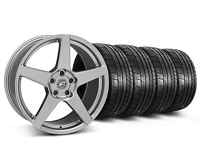 Staggered Gunmetal Forgestar CF5 Monoblock Wheel & Mickey Thompson Tire Kit - 19x9/10 (05-14 All)