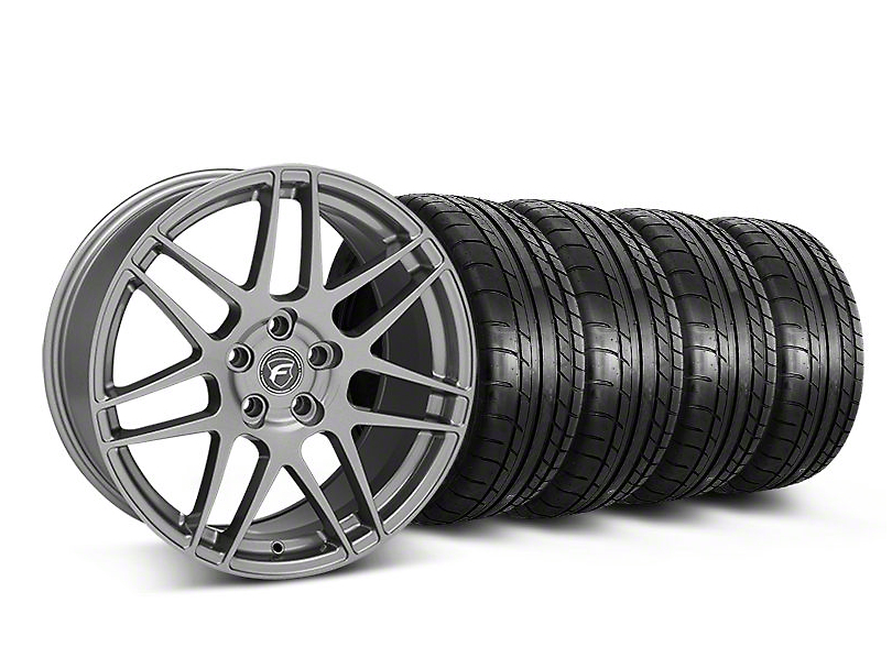 Forgestar Staggered F14 Monoblock Gunmetal Wheel & Mickey Thompson Tire Kit - 19x9/10 (05-14 All)
