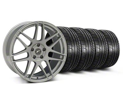 Forgestar Staggered F14 Monoblock Silver Wheel & Mickey Thompson Tire Kit - 19x9/10 (05-14 All)