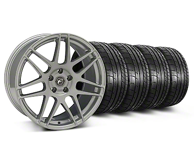 Staggered Silver Forgestar F14 Monoblock Wheel & Mickey Thompson Tire Kit - 19x9/10 (05-14 All)