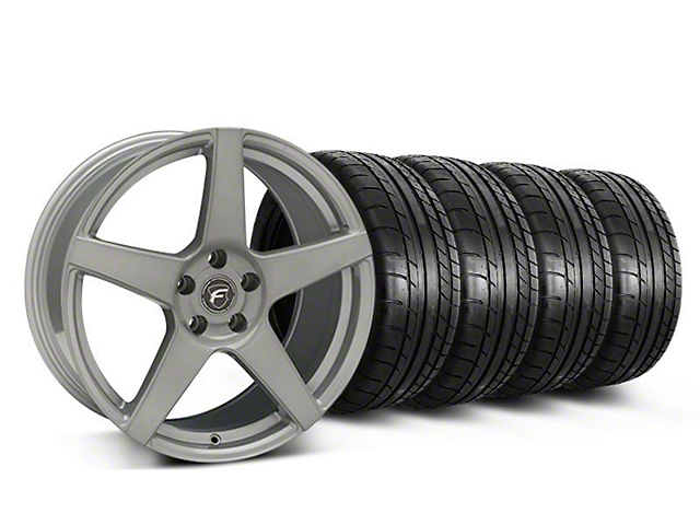 Staggered Forgestar CF5 Monoblock Silver Wheel & Mickey Thompson Tire Kit - 19x9/10 (05-14 All)