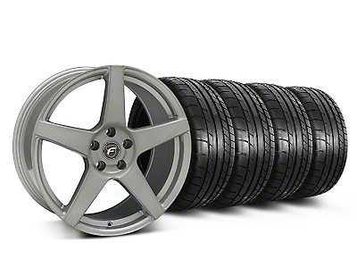 Staggered Silver Forgestar CF5 Monoblock Wheel & Mickey Thompson Tire Kit - 19x9/10 (05-14 All)