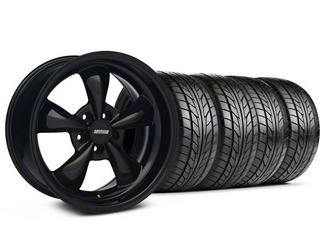 Staggered Bullitt Solid Black Wheel & NITTO Tire Kit - 18x9/10 (99-04 All)