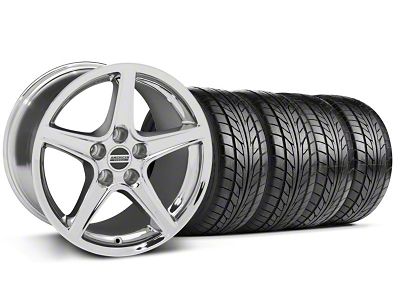 Staggered Saleen Style Chrome Wheel & NITTO Tire Kit - 17x9/10.5 (94-98 All)