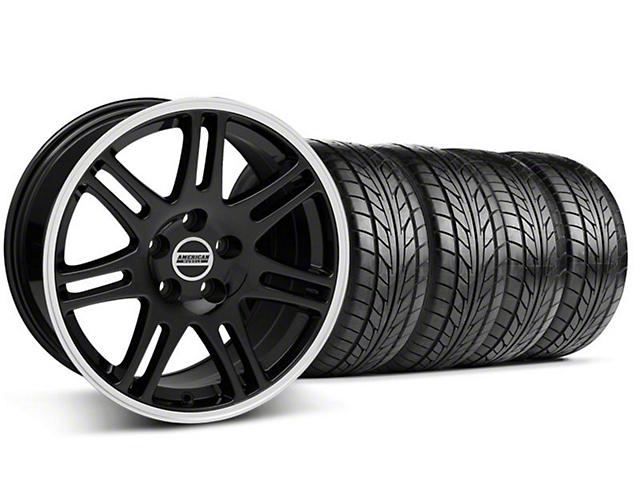 Staggered 10th Anniversary Cobra Style Black Wheel & NITTO Tire Kit - 17x9/10.5 (99-04 All)