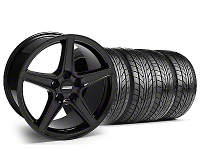Staggered Saleen Black Wheel & NITTO Tire Kit - 17x9/10.5 (99-04 All)