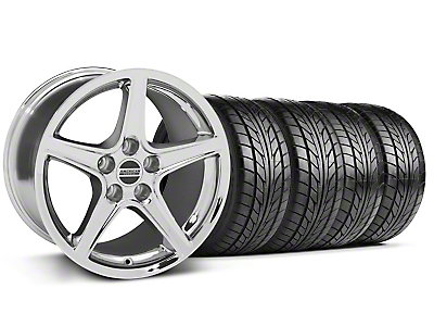 Staggered Saleen Style Chrome Wheel & NITTO Tire Kit - 17x9/10.5 (99-04 All)
