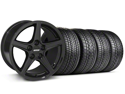 Staggered Saleen Style Black Wheel & Sumitomo Tire Kit - 17x9/10.5 (99-04 All)