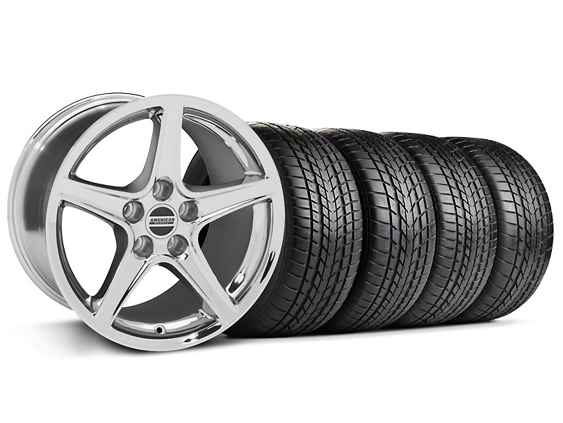 Staggered Saleen Style Chrome Wheel & Sumitomo Tire Kit - 17x9/10.5 (99-04 All)