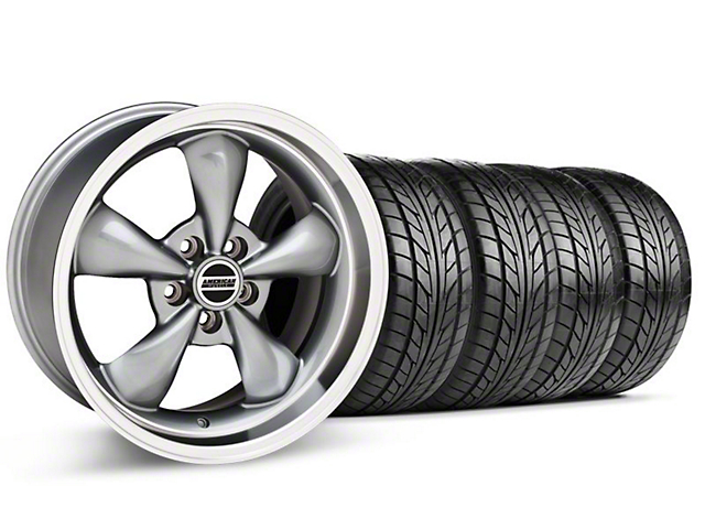 Staggered Deep Dish Bullitt Anthracite Wheel & NITTO Tire Kit - 18x9/10 (99-04 All)