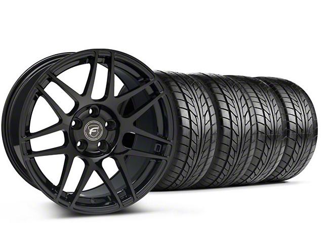 Forgestar Staggered F14 Monoblock Piano Black Wheel & NITTO Tire Kit - 18x9/10 (99-04 All)