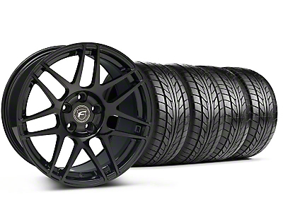 Staggered Forgestar F14 Monoblock Piano Black Wheel & NITTO Tire Kit - 18x9/10 (99-04 All)