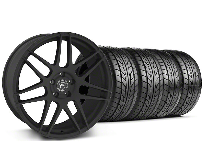 Staggered Forgestar F14 Monoblock Textured Black Wheel & NITTO Tire Kit - 18x9/10 (99-04 All)