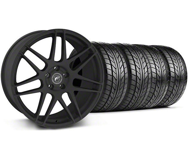 Forgestar Staggered F14 Monoblock Textured Black Wheel & NITTO Tire Kit - 18x9/10 (99-04 All)