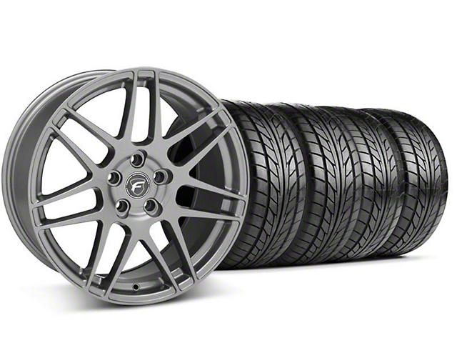 Staggered Forgestar F14 Monoblock Gunmetal Wheel & NITTO Tire Kit - 18x9/10 (99-04 All)