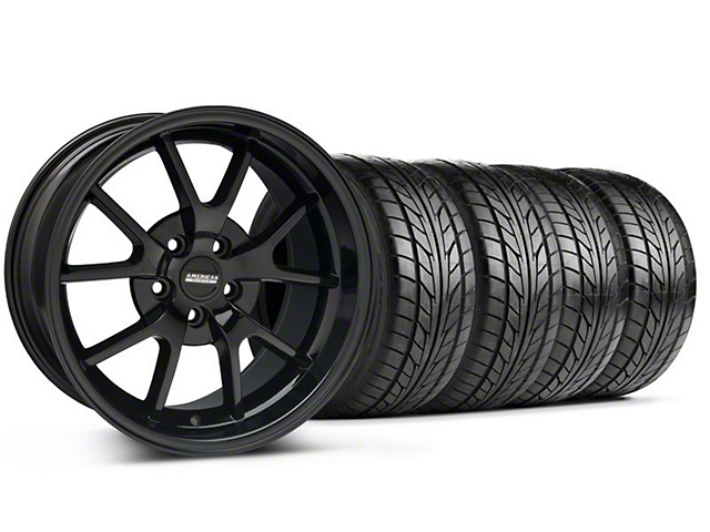Staggered FR500 Style Gloss Black Wheel & NITTO Tire Kit - 18x9/10 (99-04 All)