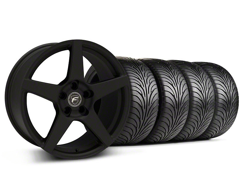 Staggered Forgestar CF5 Monoblock Textured Black Wheel & Sumitomo Tire Kit - 18x9/10 (94-98 All)