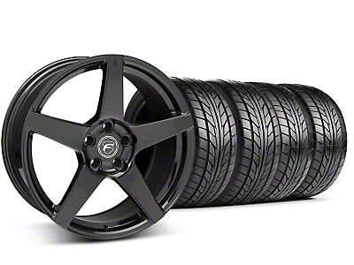 Staggered Forgestar CF5 Monoblock Piano Black Wheel & NITTO Tire Kit - 18x9/10 (94-98 All)