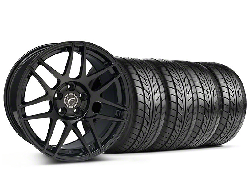 Staggered Forgestar F14 Monoblock Piano Black Wheel & NITTO Tire Kit - 18x9/10 (94-98 All)
