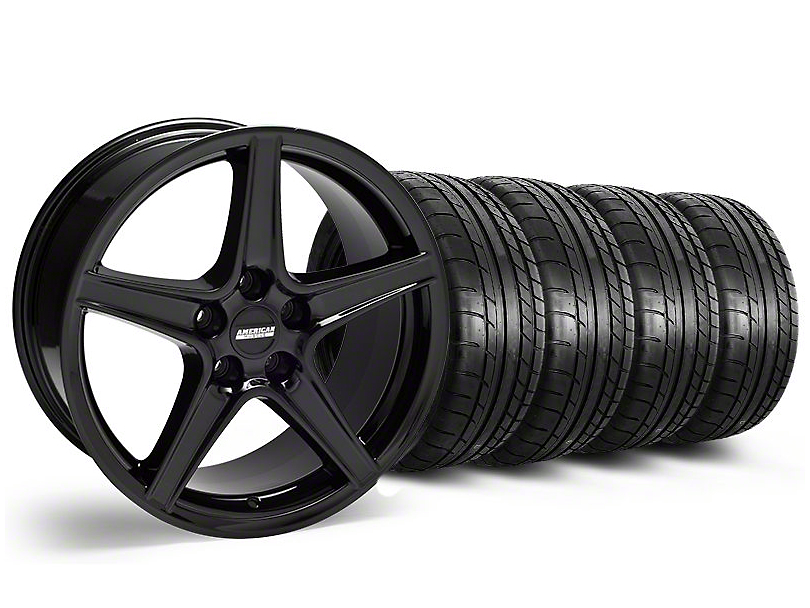 Saleen Style Black Wheel & Mickey Thompson Tire Kit - 18x9 (05-14 GT, V6)