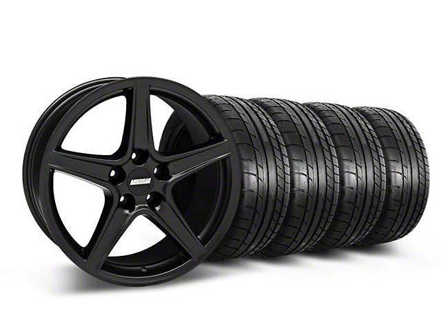 Saleen Style Matte Black Wheel & Mickey Thompson Tire Kit - 18x9 (05-14 GT, V6)