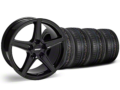 S Style Black Wheel & NITTO INVO Tire Kit - 18x9 (05-14 GT, V6)