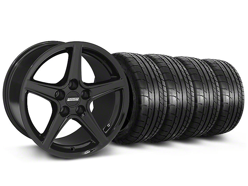 Saleen Style Black Wheel & Mickey Thompson Tire Kit - 19x8.5 (05-14 GT, V6)