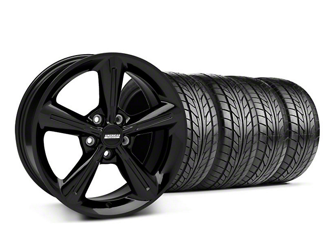 Staggered 2010 OE Style Black Wheel & NITTO Tire Kit - 18x8/10 (05-14 All)