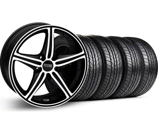 Foose Speed Black Machined Wheel & Pirelli Tire Kit - 18x8 (05-14 GT, V6)