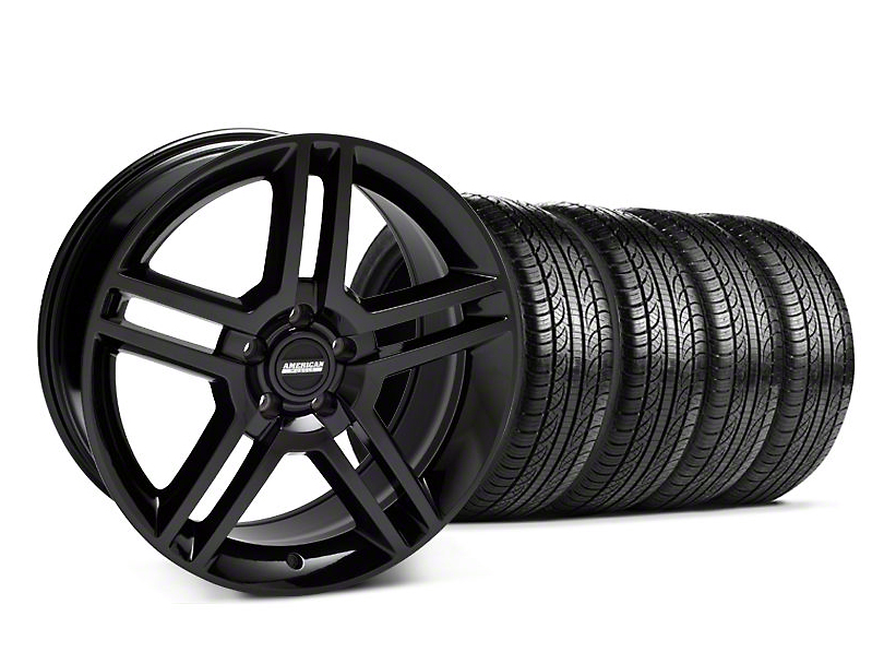 Staggered 2010 GT500 Style Black Wheel & Pirelli Tire Kit - 19x8.5/10 (05-14 All)
